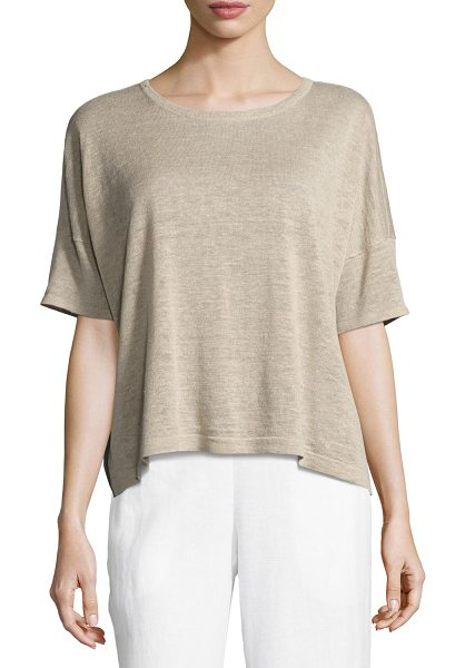 EILEEN FISHER Lightweight Organic Linen Box Top - Eileen Fisher lightweight fine-gauge box top, available...
