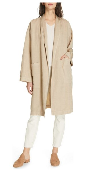 Eileen Fisher long kimono coat in beige - The easy kimono coat takes casual sophistication up a...