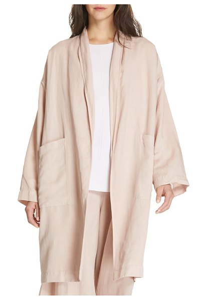 Eileen Fisher long kimono coat in pink - The easy kimono coat takes casual sophistication up a...
