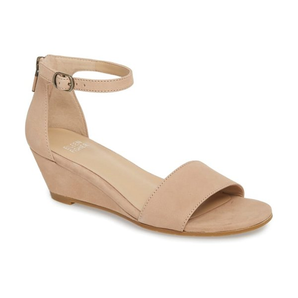 Eileen Fisher mara ankle strap wedge sandal in beige