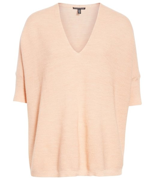 Eileen Fisher merino wool three quarter sleeve sweater in pink - An airy, lightly textured weave adds interest to a...