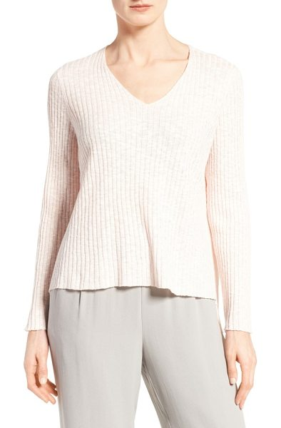 Eileen Fisher organic linen & cotton v-neck sweater in shell - Wide ribbing textures a V-neck sweater spun from a cool,...