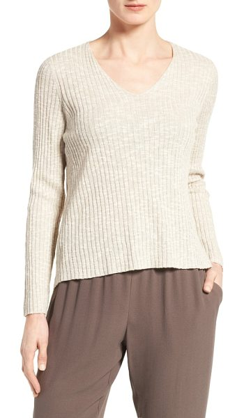 Eileen Fisher organic linen & cotton v-neck sweater in unnatural - Wide ribbing textures a V-neck sweater spun from a cool,...