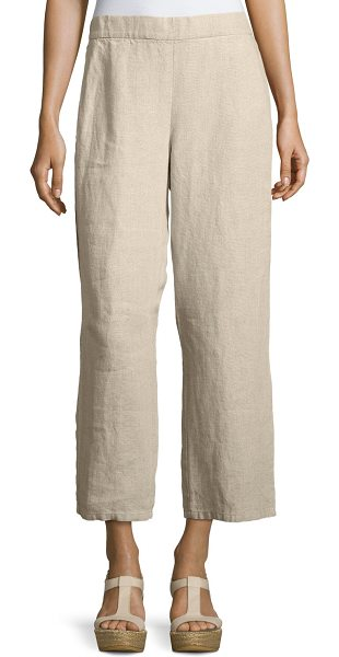 Eileen Fisher Organic Linen Straight-Leg Ankle Pants in undyed natural - Eileen Fisher ankle pants in heavy organic linen....