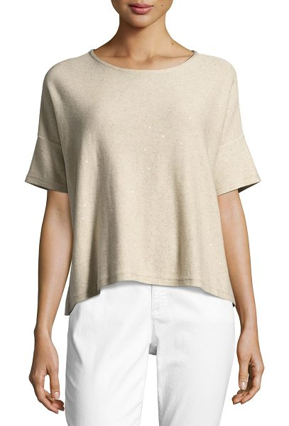 EILEEN FISHER Organic Silk Sequined Top - EXCLUSIVELY AT NEIMAN MARCUS Eileen Fisher knit top...