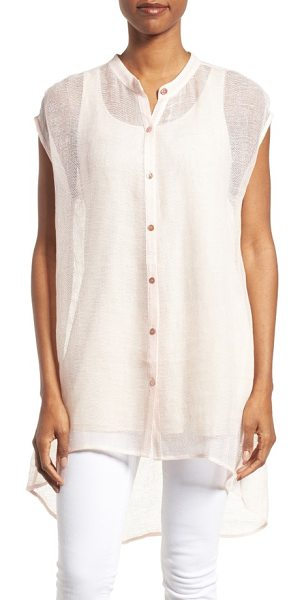 Eileen Fisher linen blend sheer mandarin collar tunic in shell - A cap-sleeve tunic feels light and floaty in an...