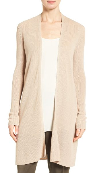 Eileen Fisher sleek ribbed tencel long cardigan in buttercream - A long, lean cardigan is lightened up for spring with a...
