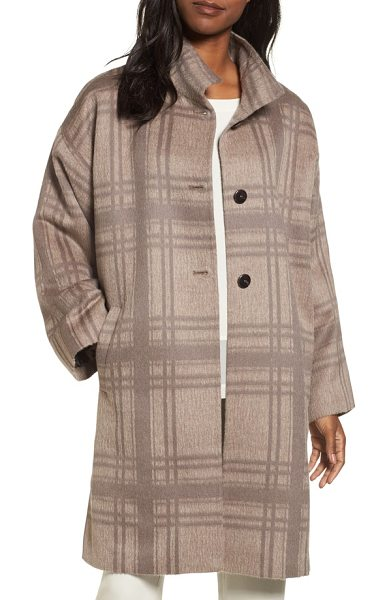 Eileen Fisher plaid stand collar coat in almond - This long, alpaca-blend coat boasts a luxurious and...