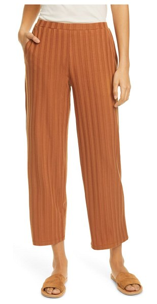 Eileen Fisher ribbed knit straight leg ankle pants in brown