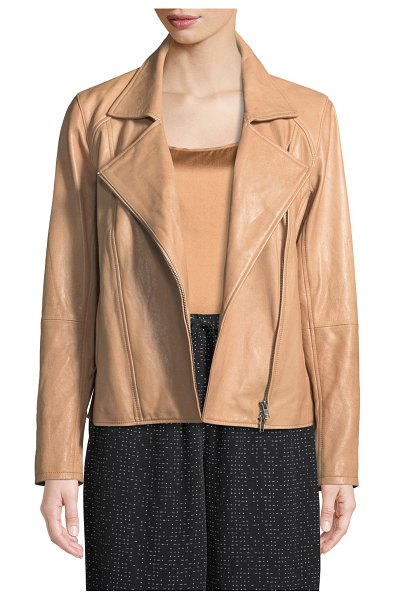 Eileen Fisher Rumpled Lux Leather Moto Jacket in amber - Eileen Fisher moto jacket in rumpled lamb leather....