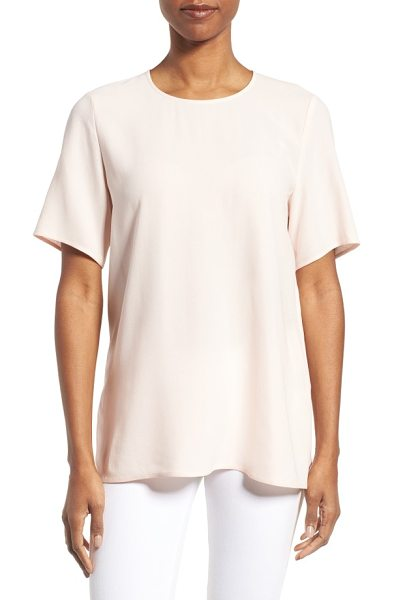 Eileen Fisher silk crepe round neck boxy top in shell - Soft and airy-light silk crepe elevates a simply styled...