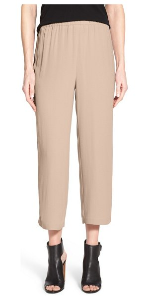 EILEEN FISHER silk crop pants in mocha - Cropped, wide-leg pants are fashioned from pure silk for...