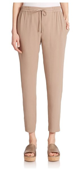 Eileen Fisher Silk drawstring pants in mocha - Silk georgette delivers a polished aura to these...