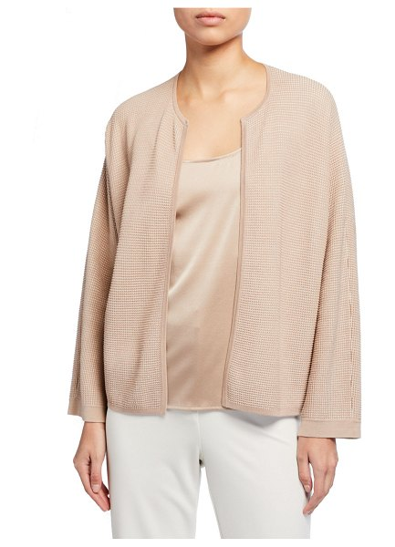 Eileen Fisher Silk/Organic Cotton Open Cardigan in beige