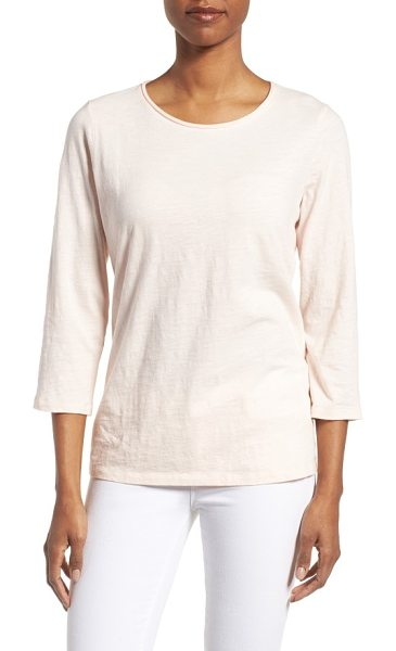 Eileen Fisher slubby organic cotton jersey top in shell - Knowing the soft fabric is sustainably produced amps up...