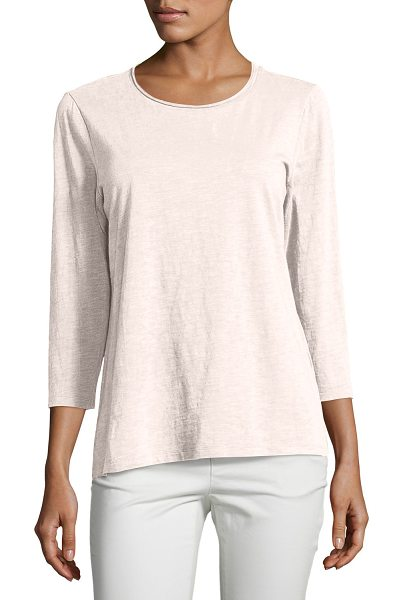 Eileen Fisher Slubby Organic Cotton Jersey Top in shell - Eileen Fisher top in soft, slubby organic cotton jersey....
