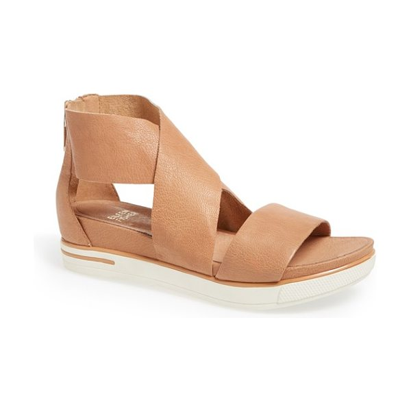 Eileen Fisher sport platform sandal in camel - Wide, lightly pebbled leather straps wrap a...