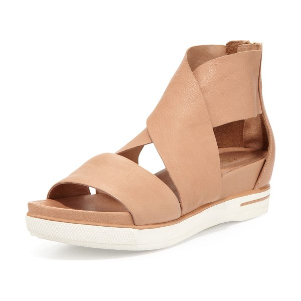 Eileen Fisher Sport wide-strap leather sandal in camel - Grain leather upper. Straps crisscross over vamp. Wide...