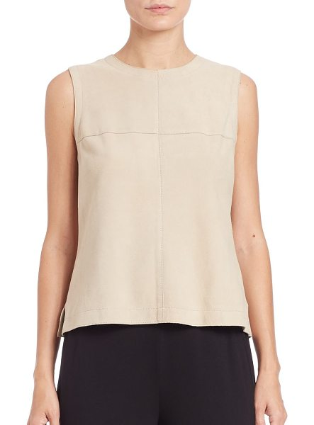 Eileen Fisher Suede shell in off-white - Cut from smooth suede, this tailored sleeveless shell...