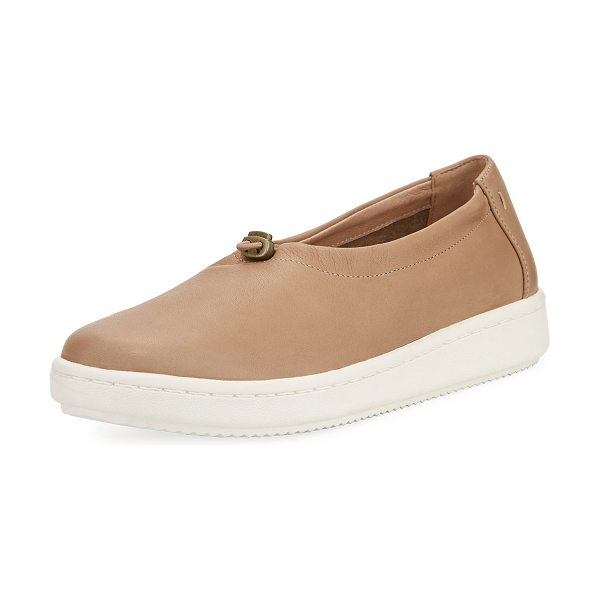 Eileen Fisher Sydney Pull-Tab Leather Sneaker in sand - Eileen Fisher leather sneaker. Flat heel with platform....