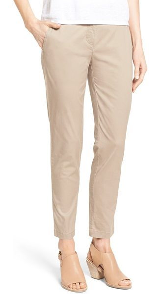 Eileen Fisher tapered leg twill ankle pants in mocha - Trouser-inspired tailoring polishes the look of...