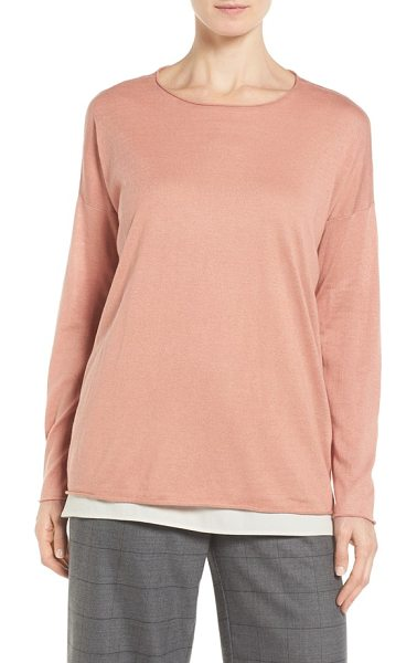 Eileen Fisher tencel & organic cotton blend sweater in toffee cream - Available in a stylish array of colors, a slouchy...