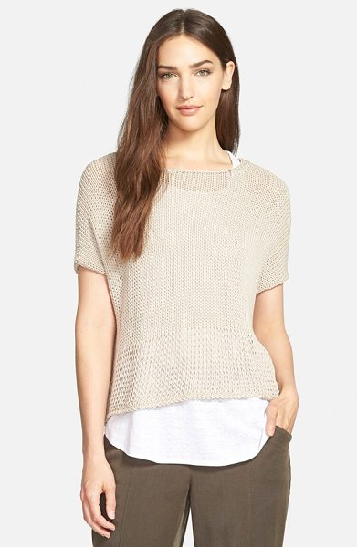 EILEEN FISHER the fisher project bateau neck oval crop sweater - Airy stitching loosens even more toward the hem to bring...