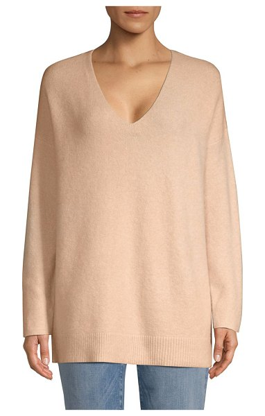 Eileen Fisher v-neck boucle sweater in dune - Boucle knit construction lends this relaxed sweater a...