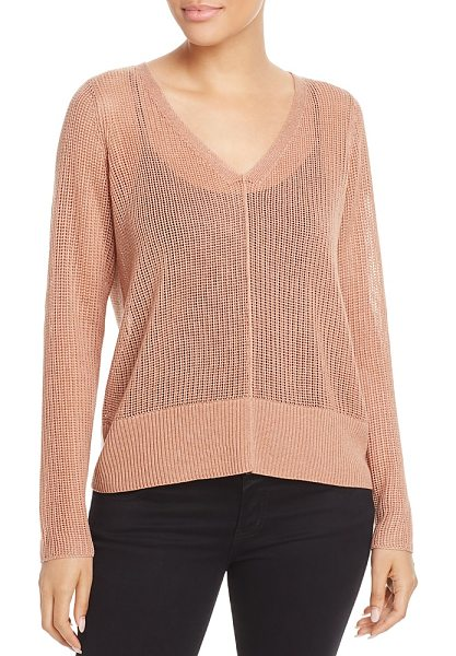 Eileen Fisher V-Neck Sheer-Knit Sweater in amber - Eileen Fisher V-Neck Sheer-Knit Sweater-Women