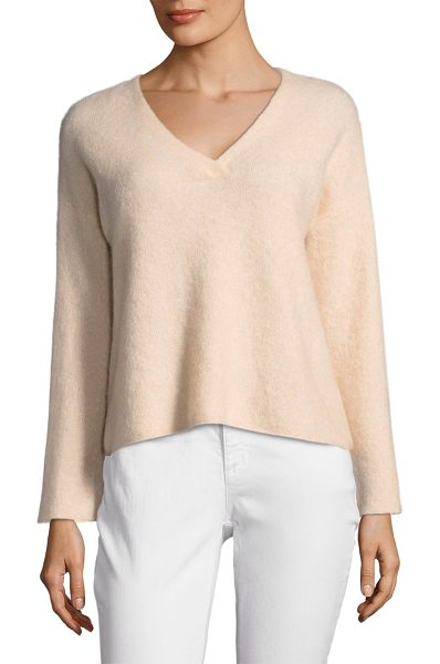Eileen Fisher v-neck sweater in dune - Cozy cashmere sweater.V-neck. Dropped shoulders. Long...