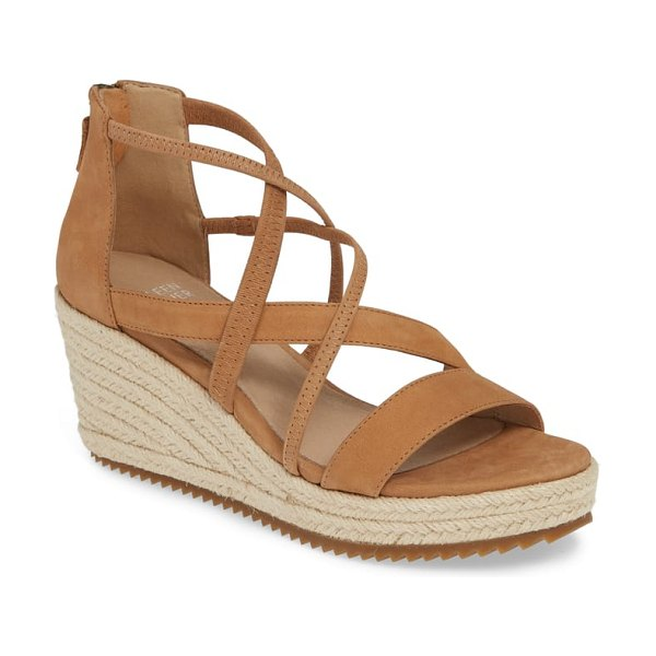 Eileen Fisher wanda cross strap wedge sandal in beige - Angled straps of leather and elastic cage the upper of a...