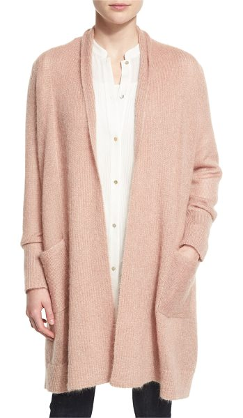 Eileen Fisher Washed Mohair-Blend Shawl Cardigan in pink - Eileen Fisher ribbed cardigan. Shawl collar; open front....