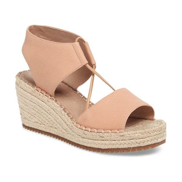 Eileen Fisher whim espadrille wedge sandal in beige - Stretchy, crisscrossed bands make this espadrille wedge...