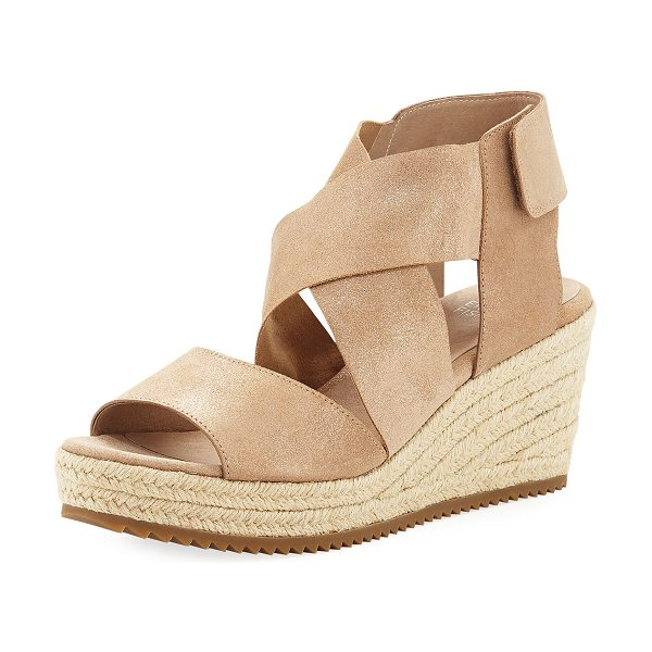EILEEN FISHER Willow Starry Suede Wedge Espadrille Sandal - Eileen Fisher starry metallic suede espadrille sandal....