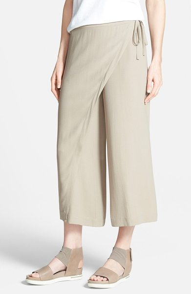 Eileen Fisher wrap front wide leg silk crop pants in mocha