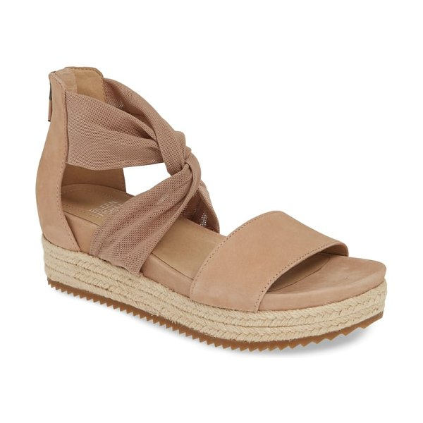 Eileen Fisher zoe wedge sandal in beige - A twist of stretchy fabric brings shape and texture to...