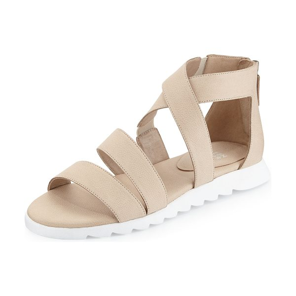 "Eileen Fisher Zone leather multi-strap sandal in latte - Eileen Fisher strappy leather sandal. 0. 75"" heel...."