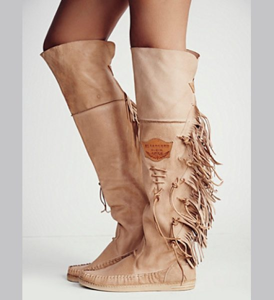 El Vacquero Carpario tall moccain in taupe - Super luxe Italian leather tall moccasin boots featuring...