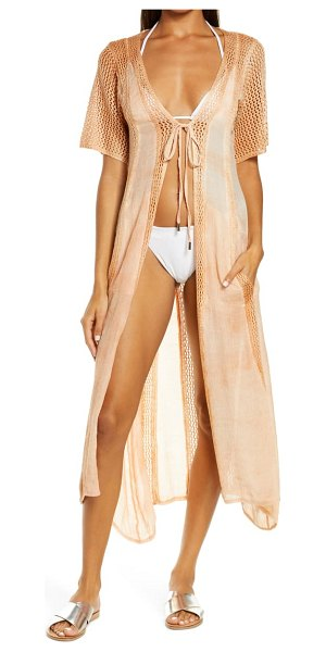 Elan crochet inset long cotton cover-up in coral