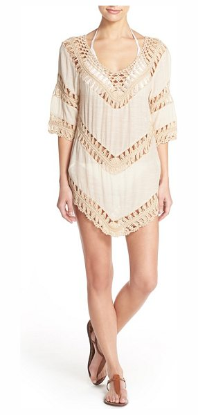Elan crochet tunic cover-up in tan - Sheer panels of beachy crochet play up the free-spirited...
