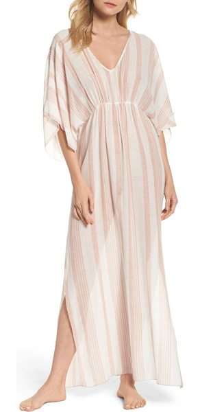 Elan stripe cover-up caftan in rose stripe - Layer stylishly at the beach and beyond in this flowy...