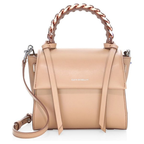 Elena Ghisellini angel leather top handle bag in naked - A smart top handle bag enhanced with leather strap and...