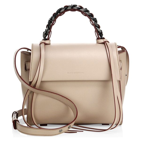Elena Ghisellini angel sensua leather satchel in beige - Sleek leather flap silhouette with woven chain handle....
