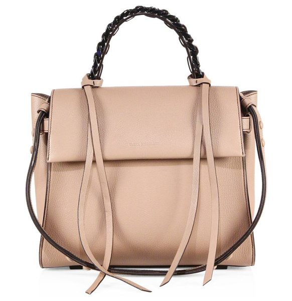 ELENA GHISELLINI angel sensua leather satchel in taupe - Sleek leather flap silhouette with woven chain handle....