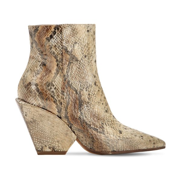 Elena Iachi 80mm snake print fabric ankle boots in beige - 80mm Covered heel. Side zip closure. Snake printed...