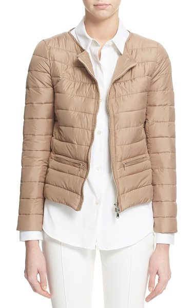 ELEVENTY collarless puffer jacket in biscotti