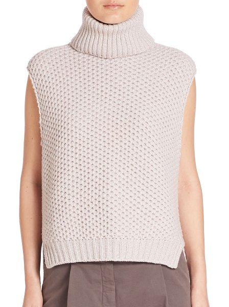 ELEVENTY solid turtleneck top in petal - Diamond pattern pullover top in soft cashmere blend....