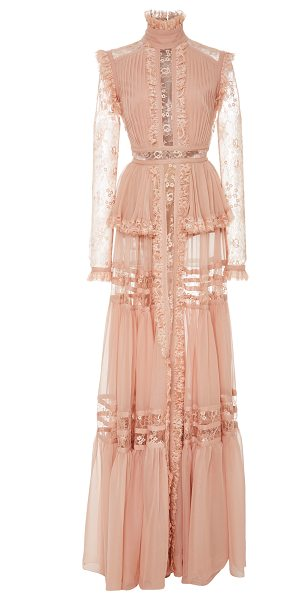 Elie Saab Crepe Georgette Long Sleeve Dress in pink - This *Elie Saab* dress features a stand collar with...