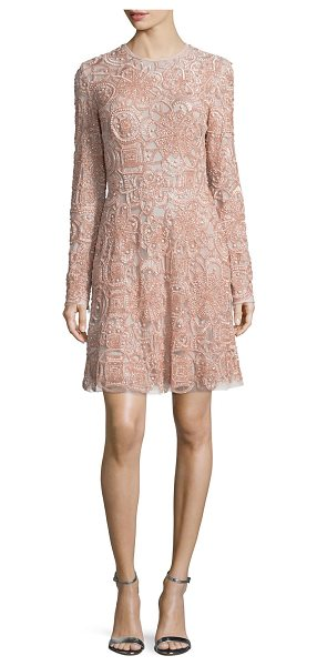 Elie Saab Long-Sleeve Embellished Cocktail Dress in opal - Elie Saab embellished dress with allover beading and...
