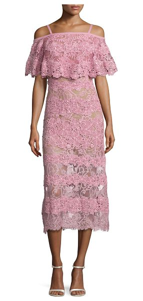 Elie Saab Off-the-Shoulder Lace Popover Midi Dress in pink - Elie Saab lace and macram midi dress. Strappy...